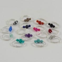 Bague mini perles argent 3 Pierres semi - précieuses rondes