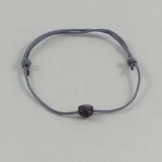 Bracelet cordon mini Coeur nacre grise