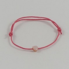 Bracelet cordon mini Coeur nacre rose