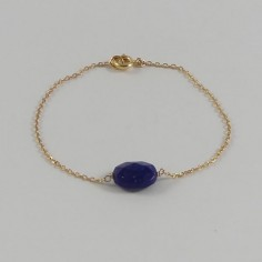 Chain bracelet gold plated oval faceted lapis lazuli