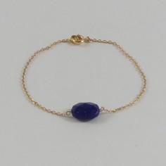 Bracelet chaine plaqué or pierre Lapis Lazuli ovale facettée