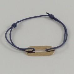Bracelet cordon motif oval plaqué or martelé