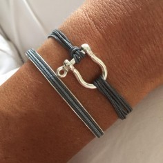 Man silver 925 shackle cord bracelet