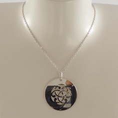 Baroque knot medal chain necklace silver 925