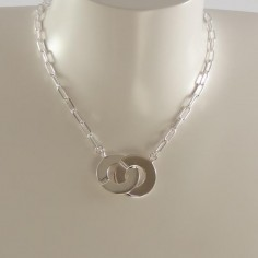 Big handcuffs oval chain necklace silver 925