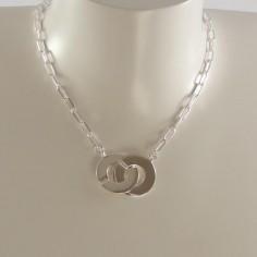 Big handcuffs oval chain necklace silver 925