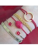 Bracelet Jonc fin plaqué or pierres rouges transparentes