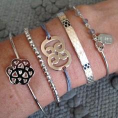 Bracelet cordon motif double C argent