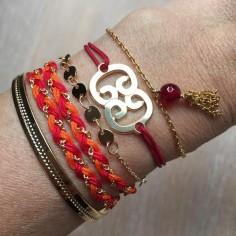 Bracelet cordon motif double C plaqué or