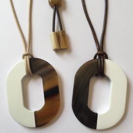 Collier cordon gros motif Oval corne blanc