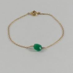 Bracelet chaine plaqué or mini pierre carrée facetées onyx verte
