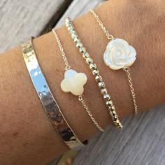Bracelet chaine argent Rose nacre blanche