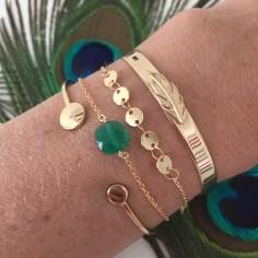 Bracelet chaine plaqué or mini pierre carrée facettée onyx verte