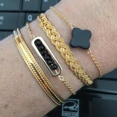 Bracelet chaine plaqué or maillon mini pierres facetées