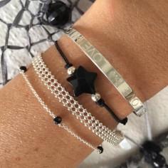 Bracelet cordon pierre Etoile onyx perles argent