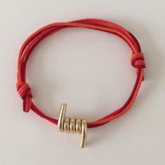 Bracelet cordon motif barbelé plaqué or
