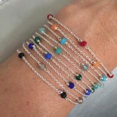 Bracelet chaine argent 5 petites pierres