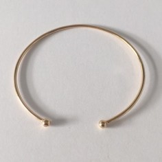 Two beads thin bangle gold plated