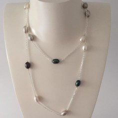Long chain necklace silver 925 multicolored freshwater pearls