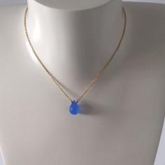 Collier chaine plaqu or goutte pierre agate bleue facetée