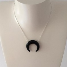 Big onyx horn chain necklace silver 925