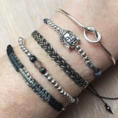 Bracelet Jonc argent fin noeud