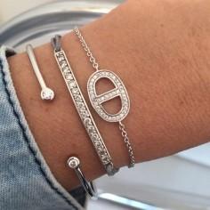 Bracelet cordon Barrette argent petits zircons