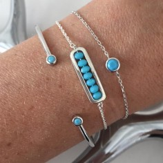 Chain bracelet silver 925 small turquoise