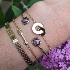 Purpule stones bangle bracelet gold plated
