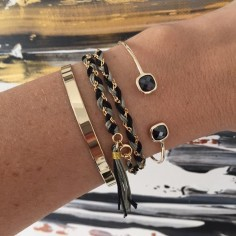 Bracelet 2 Rangs tressés chaine plaqué or bicolore