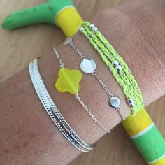 Bracelet chaine argent 7 mini pastilles