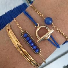 Bracelet chaine plaqué or maillon mini pierres facettées