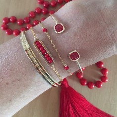 Transparent red stones bangle bracelet gold plated