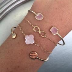 Bracelet chaine plaqué or petite croix nacre rose facettée