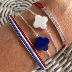Bracelet chaine argent petite Croix agate blanche