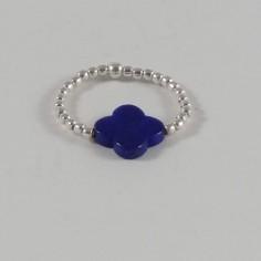 Bague mini perles argent Pierre croix Lapis lazuli