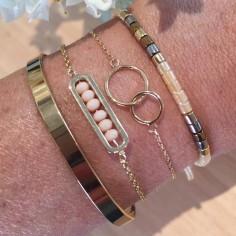 Bracelet chaine plaqué or 2 petits Anneaux