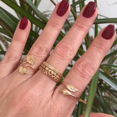 Double feather ring gold plated