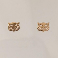 Small owles earrings gold plated