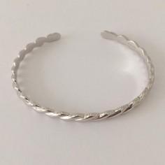 Bracelet jonc argent motif godrons ouvert