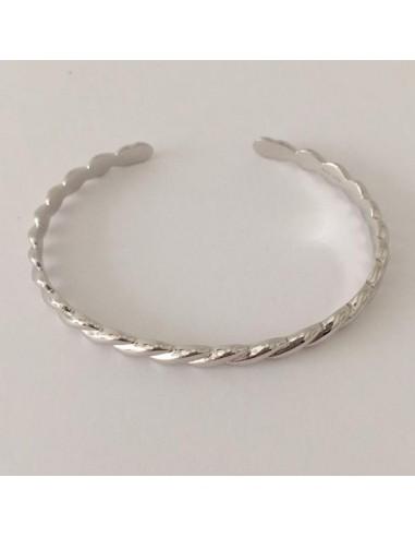 Bracelet Jonc plat plaqué or motif godrons ouvert