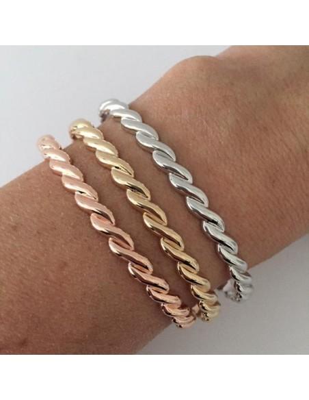 Gadroons flat open bangle bracelet silver 925