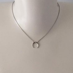 Small moon zircons chain necklace silver 925