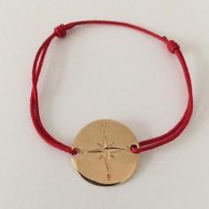 Bracelet cordon Cible points cardinaux plaqué or