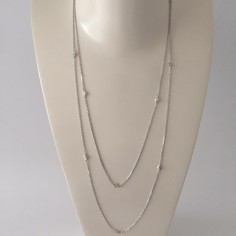 Long chain necklace silver 925 small zircons