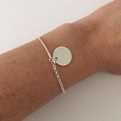 Bracelet cordon demi- jonc fin argent chainette médaille