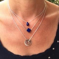 Collier chaine argent goutte lapis lazuli facetée