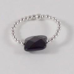 Bague minis perles argent Pierre semi - précieuse onyx carrée