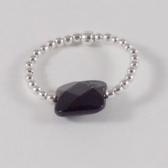 Small beads ring silver 925 onyx square stone