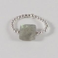 Bague minis perles argent Pierre semi - précieuse labradorite carrée